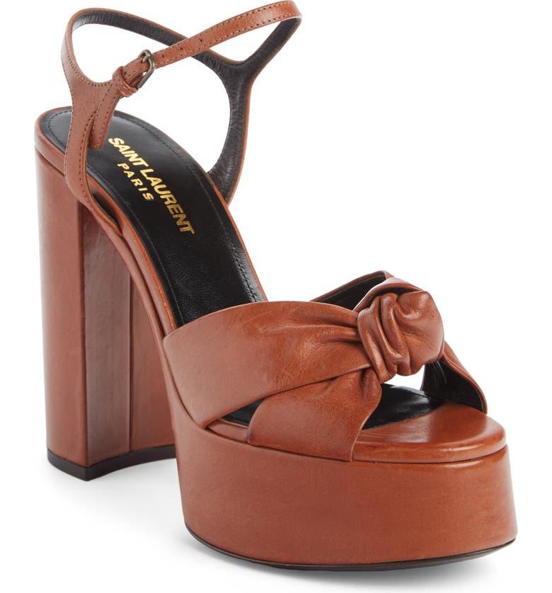 SAINT LAURENT Bianca Platform Sandal, Main, color, CARAMEL LEATHER