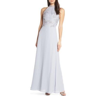 Chi Chi London Jocelyn Lace Bodice Evening Dress, Grey