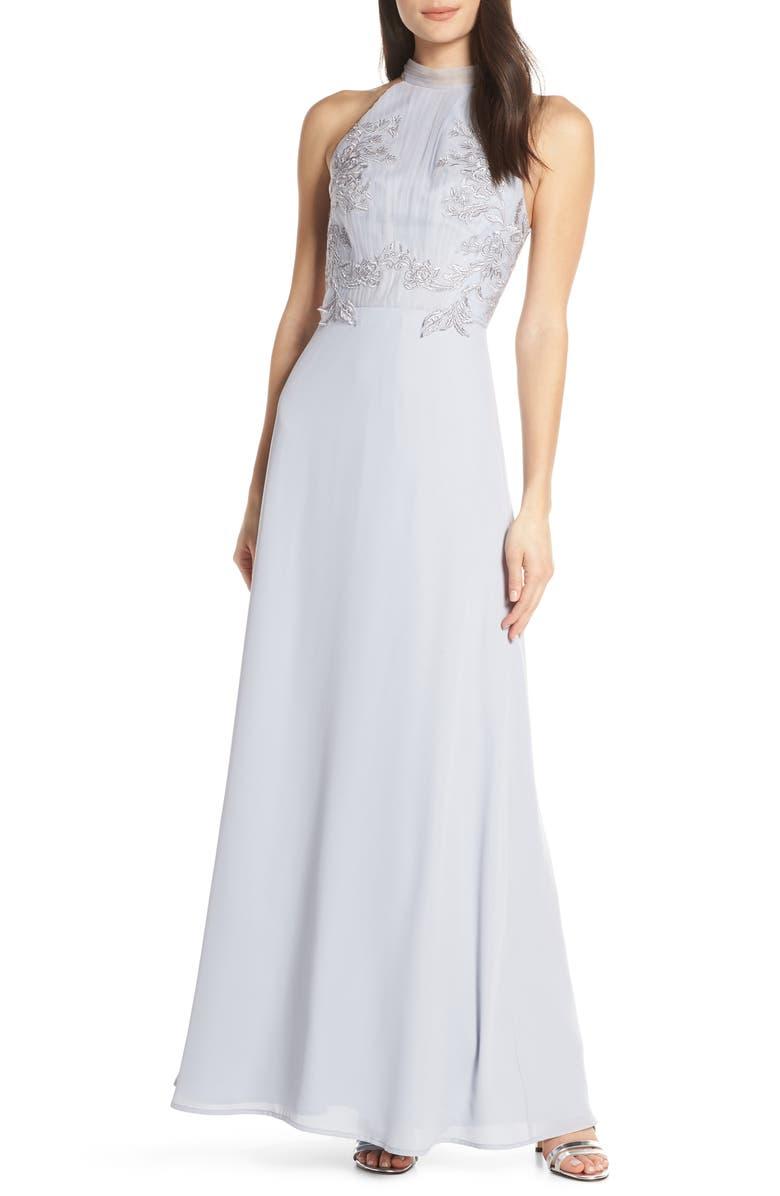 CHI CHI LONDON Jocelyn Lace Bodice Evening Dress, Main, color, GREY
