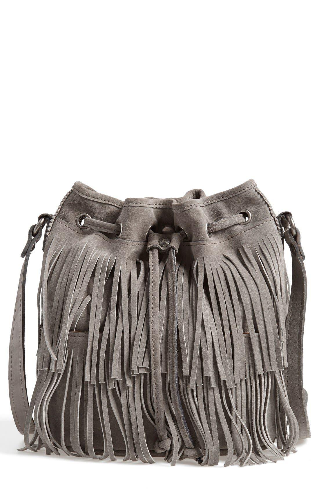 'Bronte' Fringe Bucket Bag, Main, color, 020