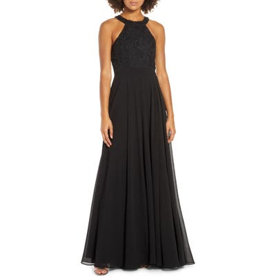 Lulus Love Poem Lace Halter Gown, Black