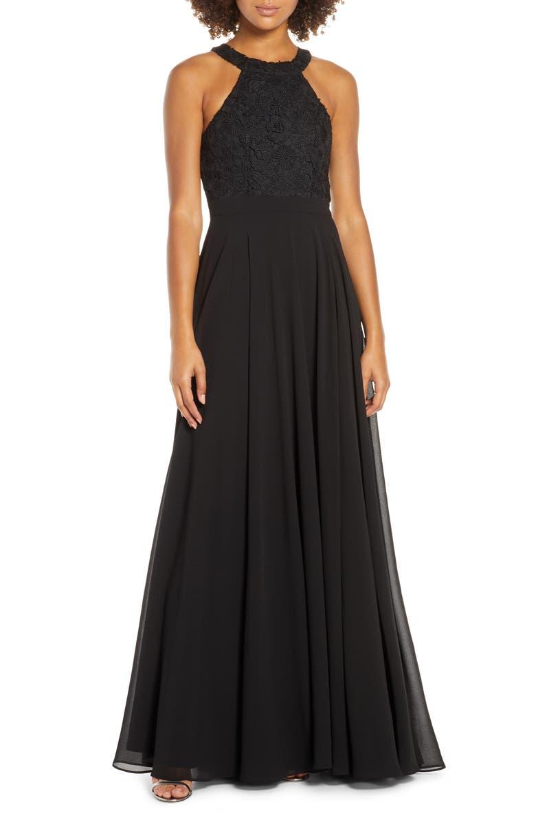 LULUS Love Poem Lace Halter Gown, Main, color, BLACK