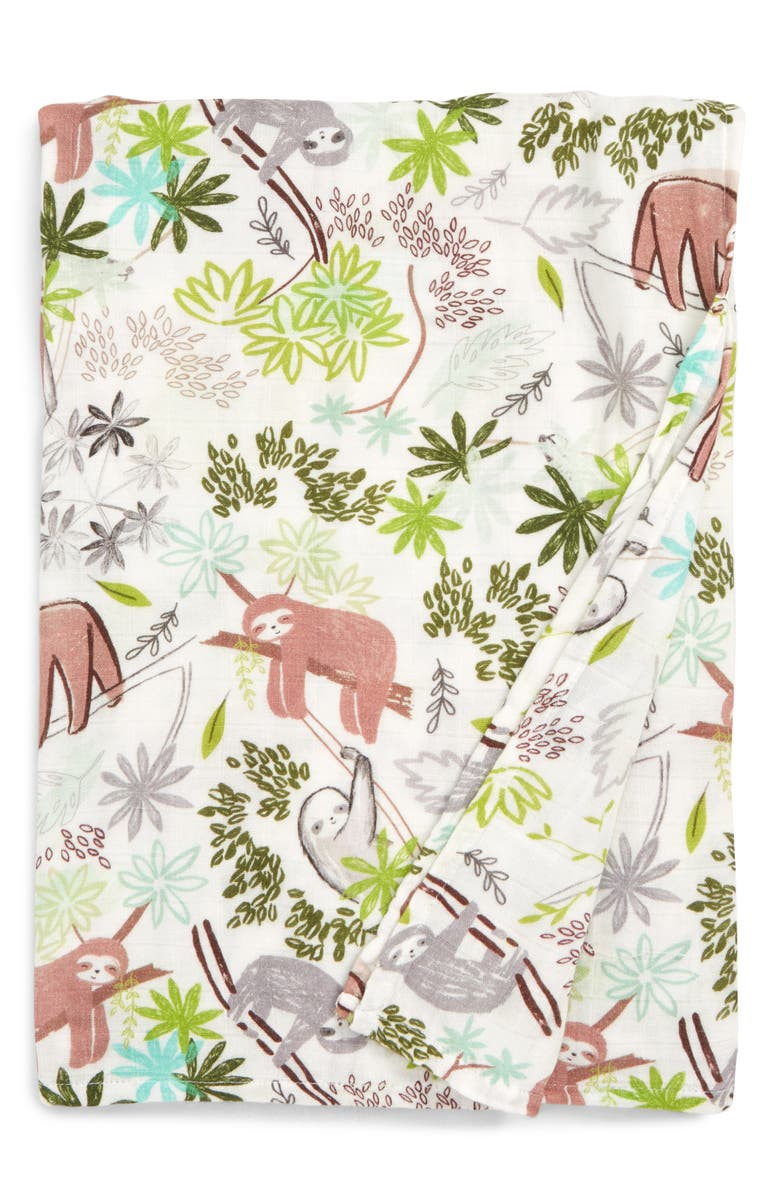 LOULOU LOLLIPOP Sloth Deluxe Muslin Swaddle Blanket, Main, color, SLOTH