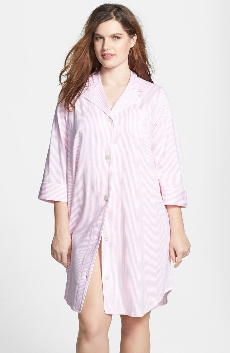 LAUREN RALPH LAUREN Knit Jersey Sleep Shirt, Main, color, LAGOON PINK/ WHITE STRIPE