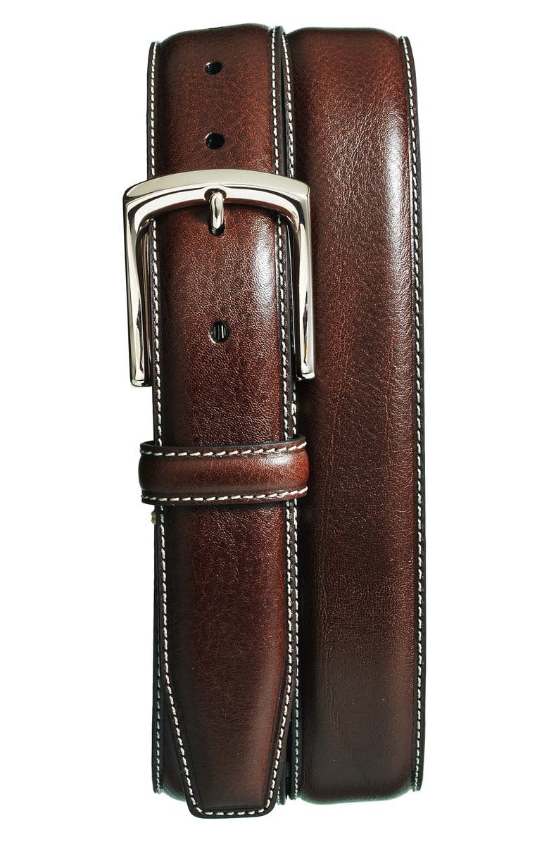 TORINO Burnished Leather Belt, Main, color, BROWN