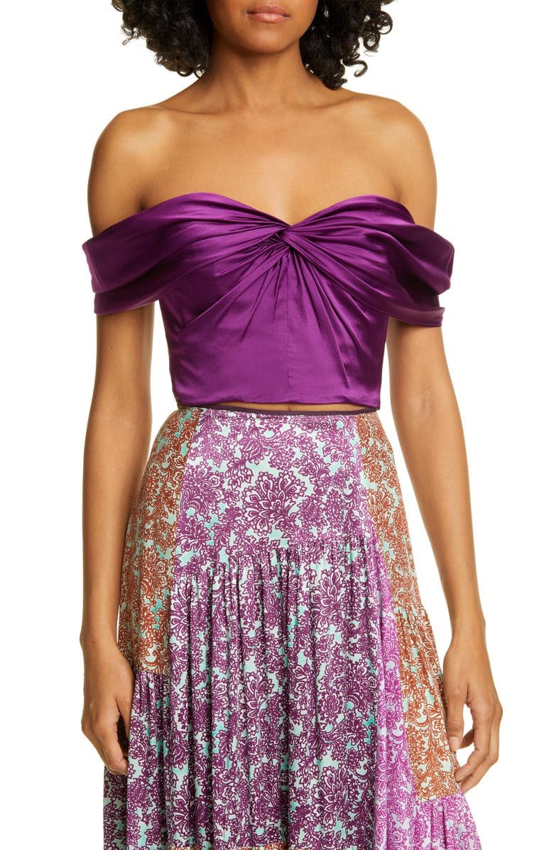 AMUR Winnie Silk Satin Off the Shoulder Top, Main, color, PURPLE