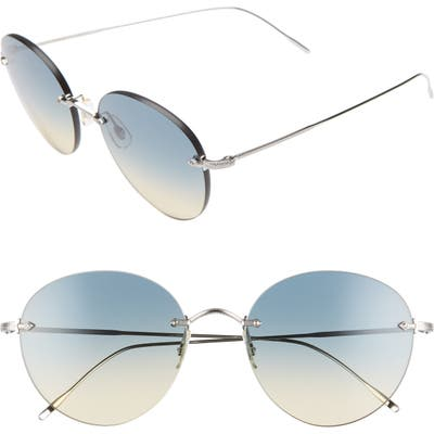 Oliver Peoples Coliena 57Mm Round Sunglasses - Silver/ Yellow/ Gradient Blue