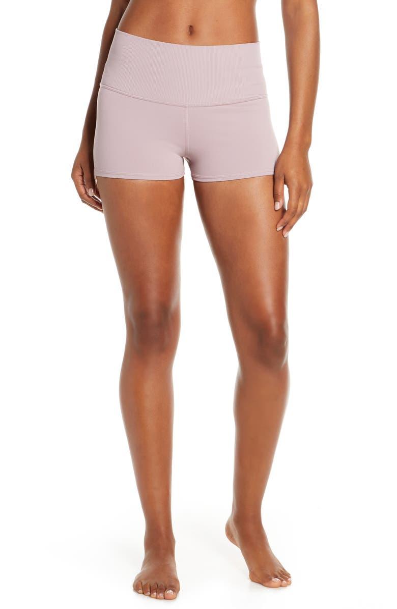 ALO Aura High Waist Shorts, Main, color, DUSTED PLUM