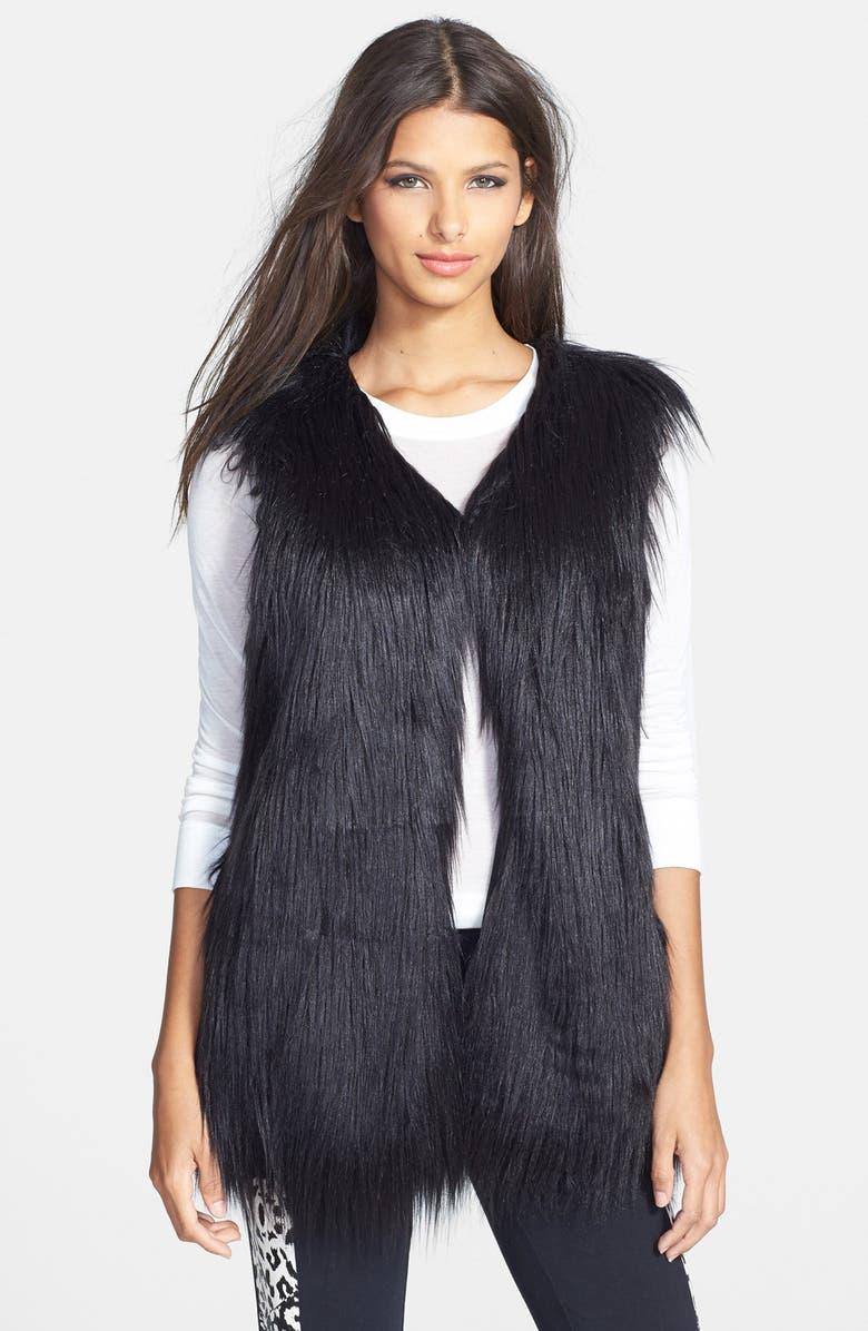 FOXIEDOX 'Double Time' Faux Fur Vest, Main, color, 001