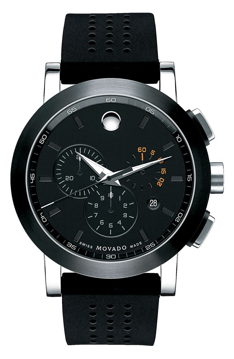 MOVADO 'Museum' Chronograph Rubber Strap Watch, 44mm, Main, color, 001
