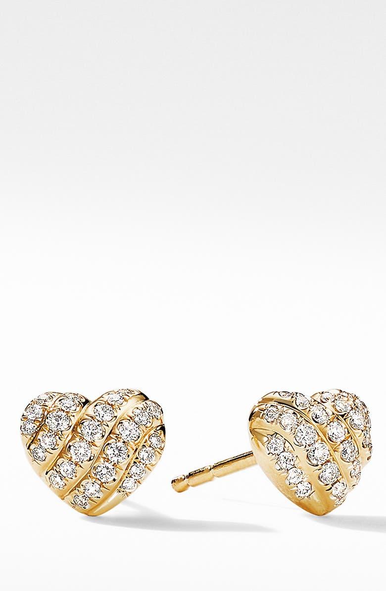DAVID YURMAN Heart Stud Earrings in 18K Yellow Gold with Pavé Diamonds, Main, color, DIAMOND
