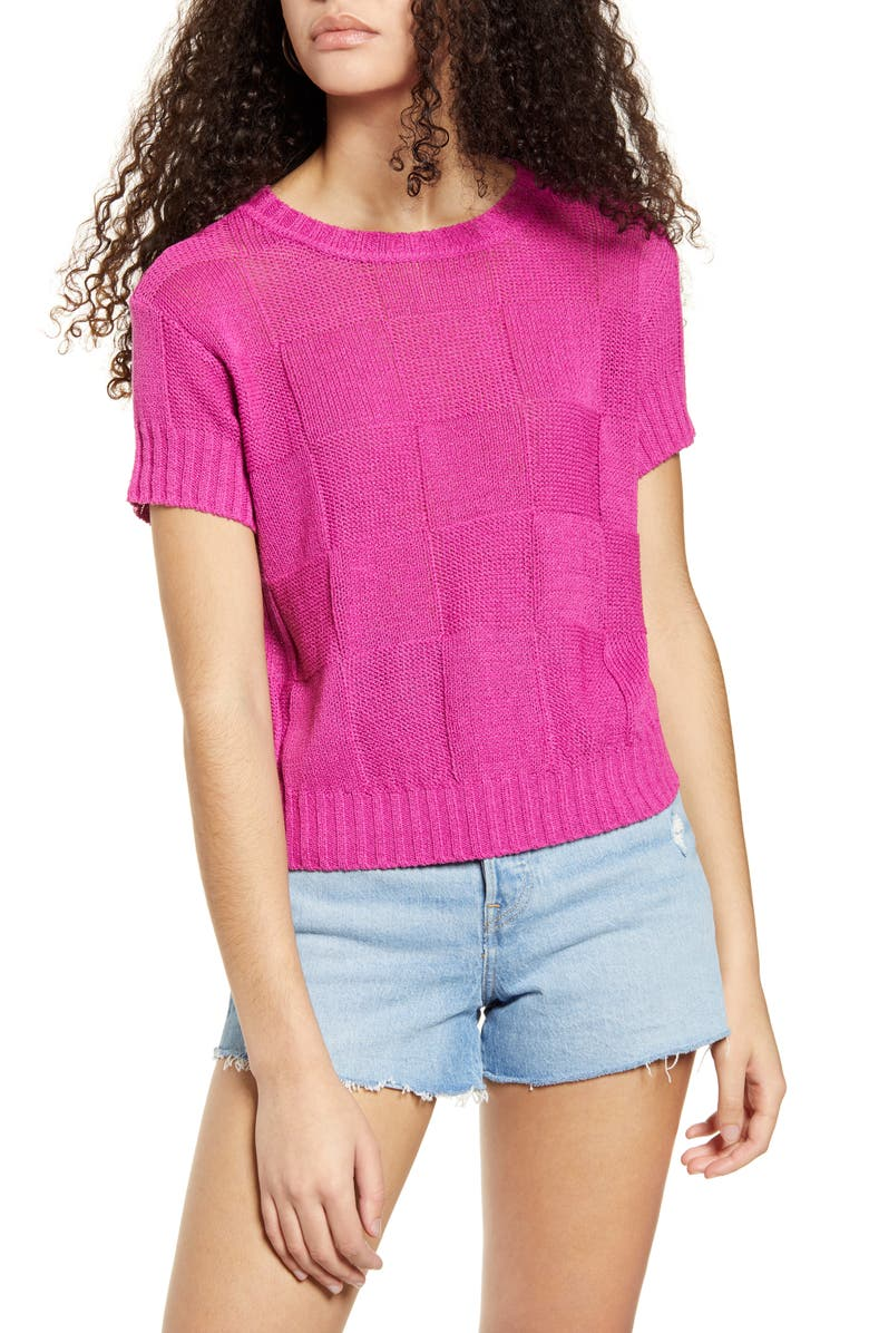 BAND OF GYPSIES Palos Verde Sweater, Main, color, FUCHSIA