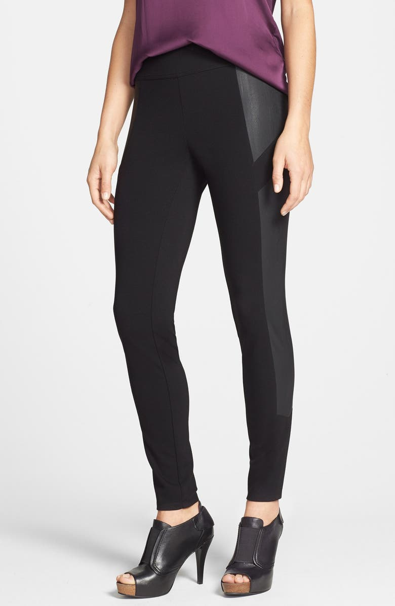 cab6e9e2a0029 Two by Vince Camuto Faux Leather Panel Ponte Moto Leggings, Main, color, 006