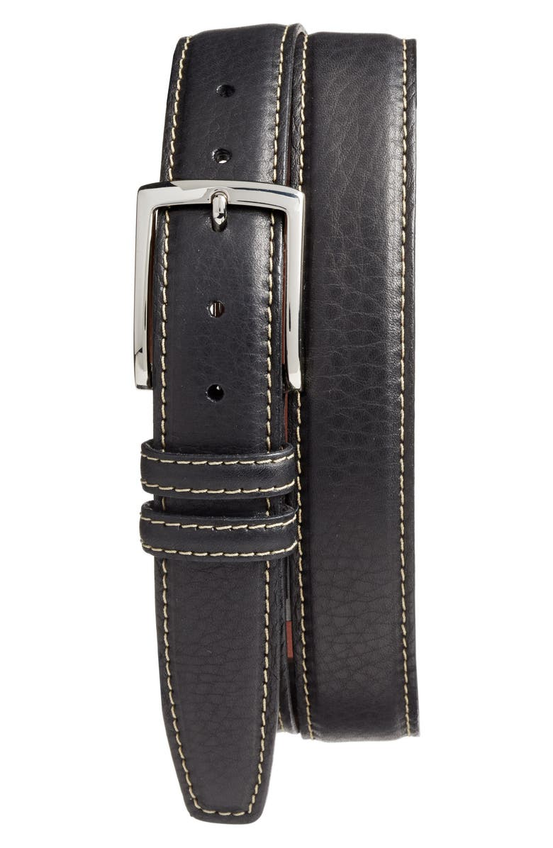 TORINO Leather Belt, Main, color, BLACK