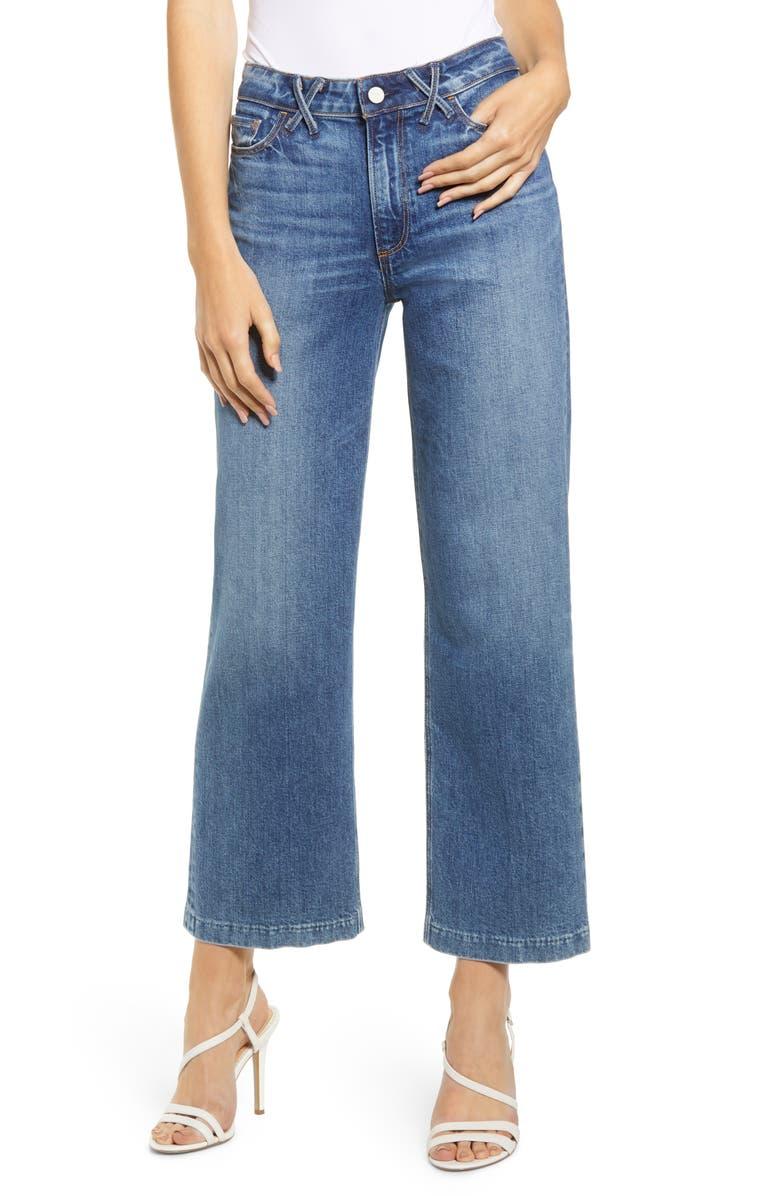 PAIGE Vintage - Nellie High Waist Crop Culotte Jeans, Main, color, RIPTIDE
