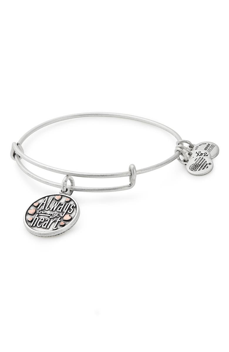 ALEX AND ANI Always in My Heart Adjustable Wire Bangle, Main, color, 040