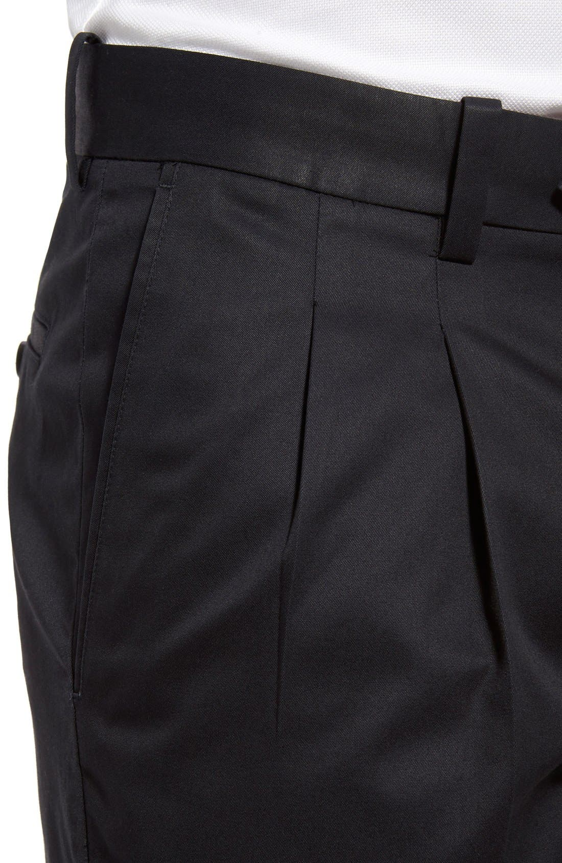 ,                             Classic Smartcare<sup>™</sup> Supima<sup>®</sup> Cotton Pleated Trousers,                             Alternate thumbnail 5, color,                             BLACK CAVIAR