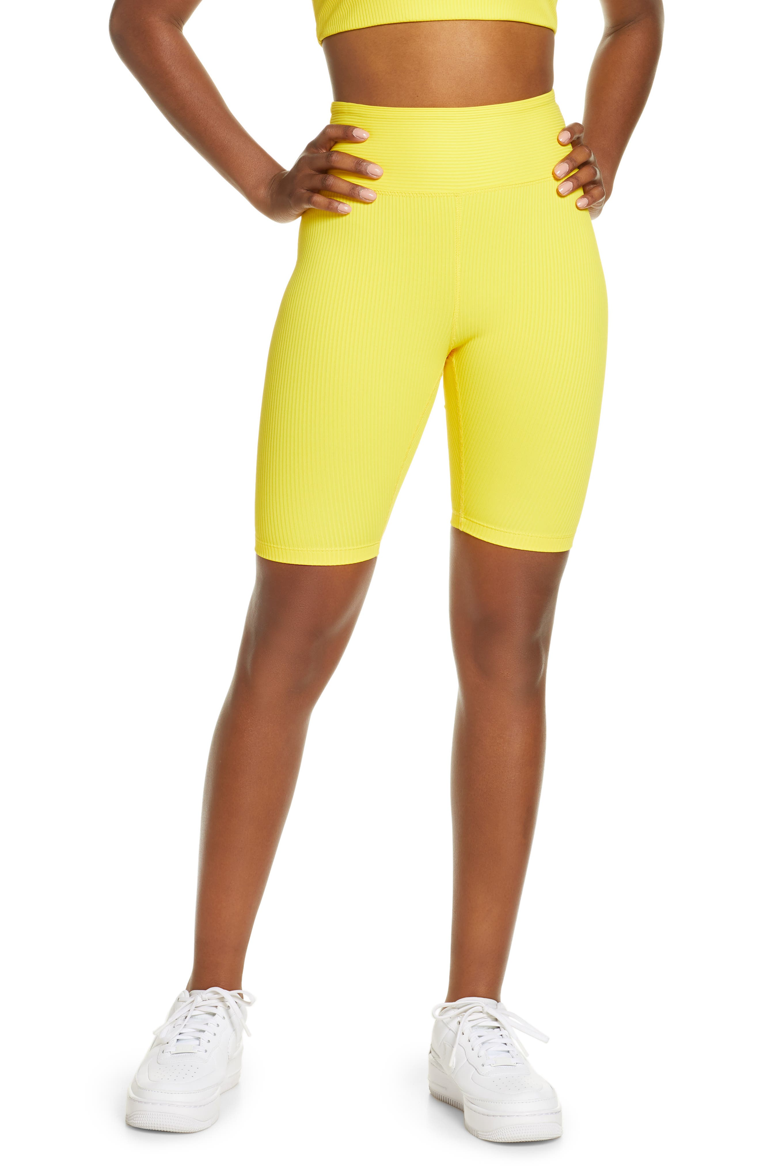 Women's Year Of Ours High Waist Ribbed Biker Shorts,  X-Large - Yellow