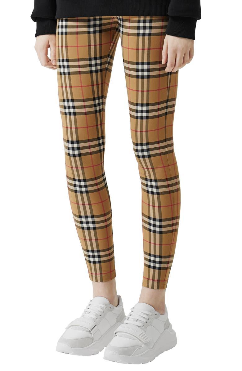 BURBERRY Belvoir Check Leggings, Main, color, ANTIQUE YELLOW CHK