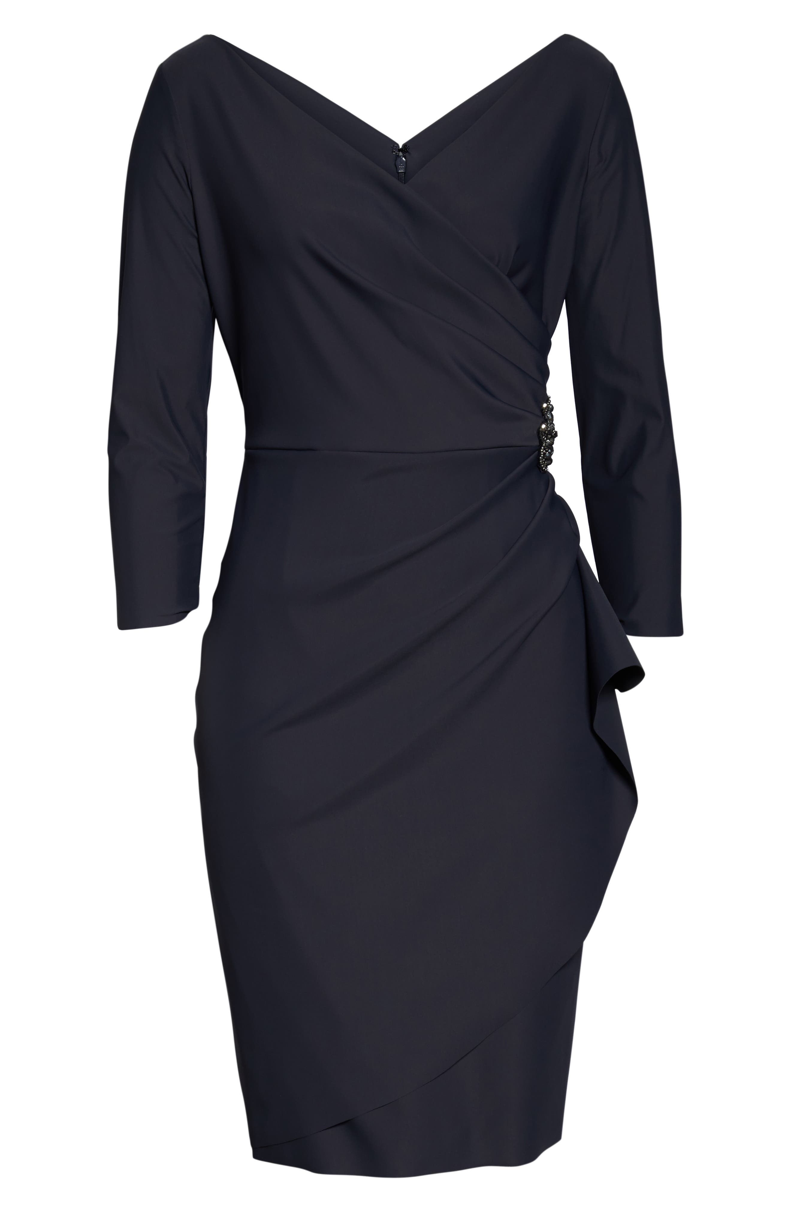 ,                             Embellished Ruched Sheath Dress,                             Alternate thumbnail 3, color,                             CHARCOAL