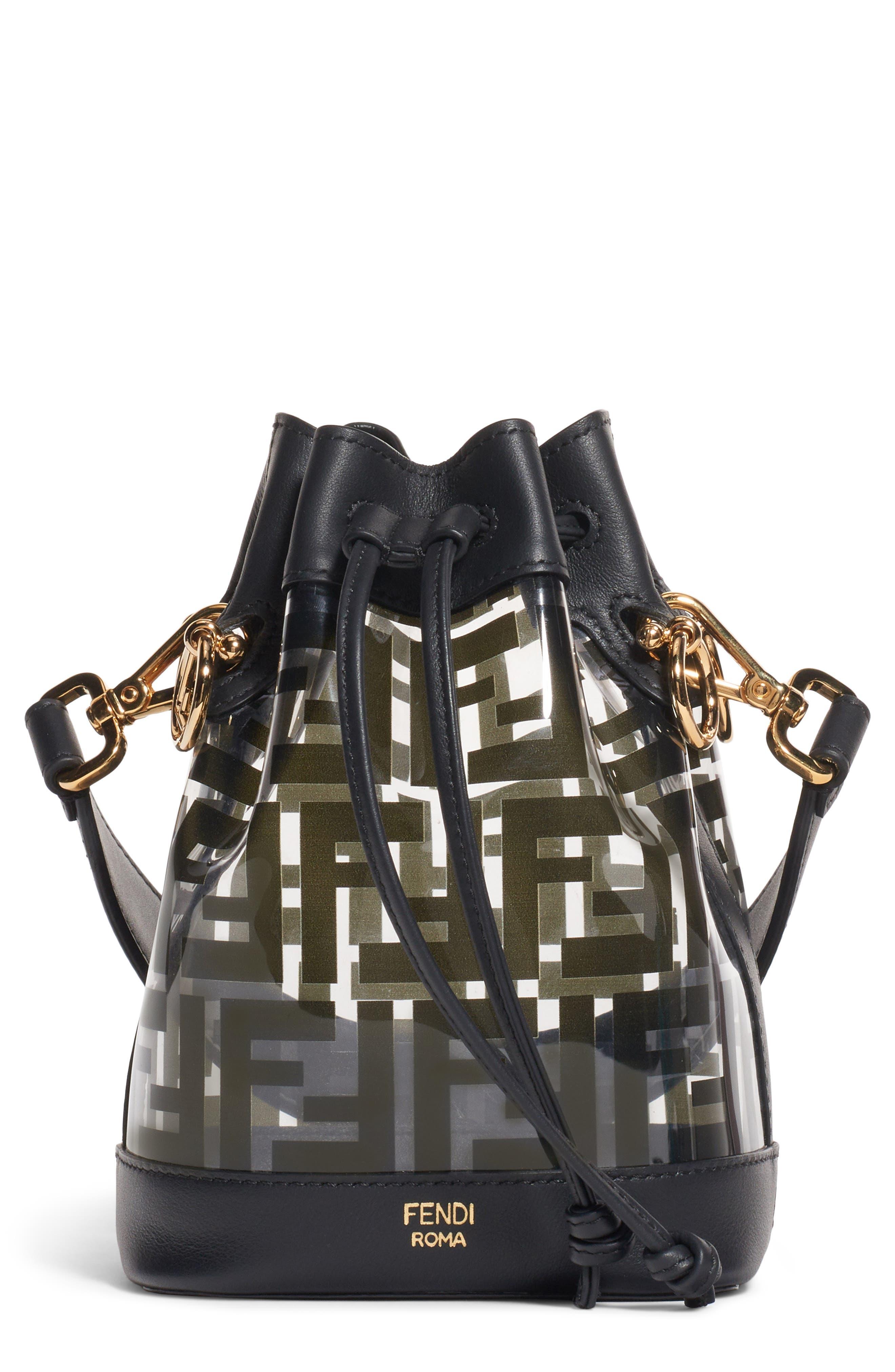 ,                             Mini Mon Tresor Transparent Bucket Bag,                             Main thumbnail 1, color,                             NERO/ ORO SOFT
