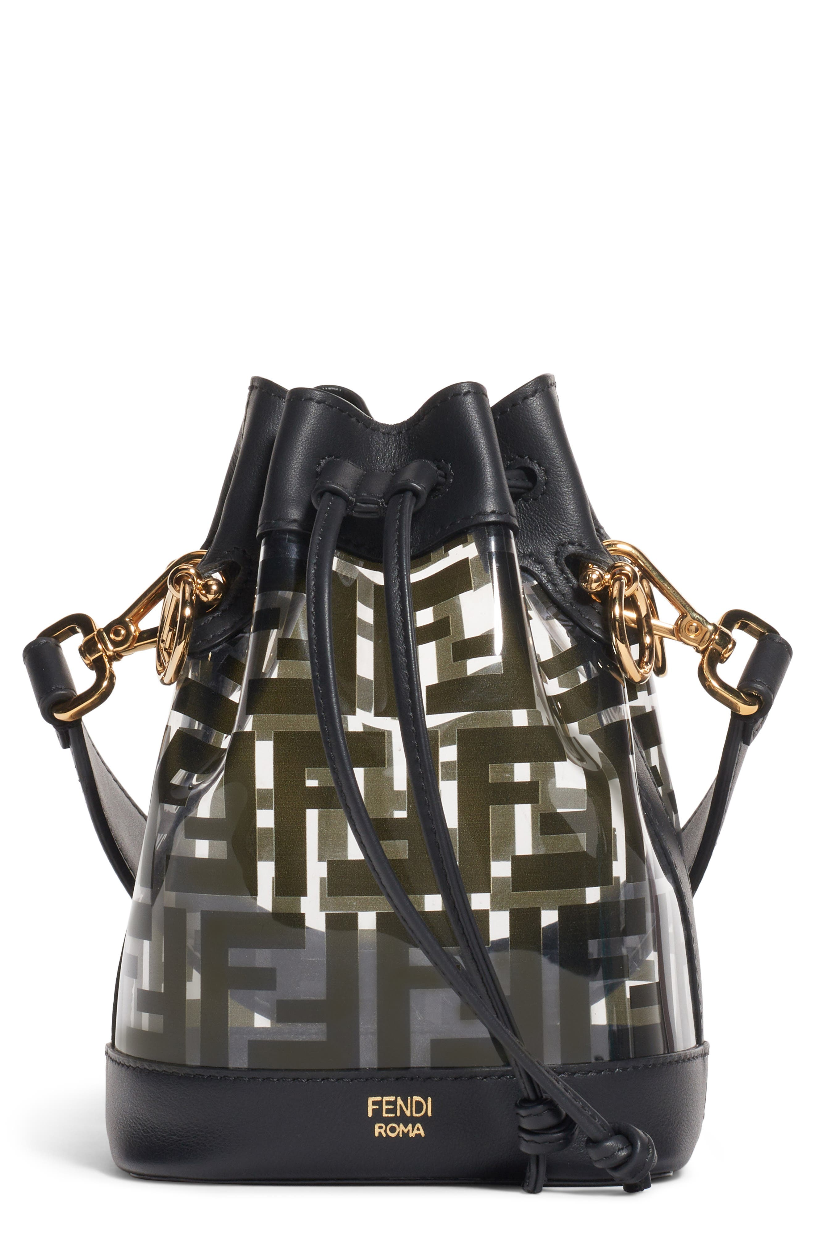 Mini Mon Tresor Transparent Bucket Bag, Main, color, NERO/ ORO SOFT