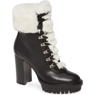 Gianvito Rossi Alaska Hiker Boot With Faux Fur Trim - Black