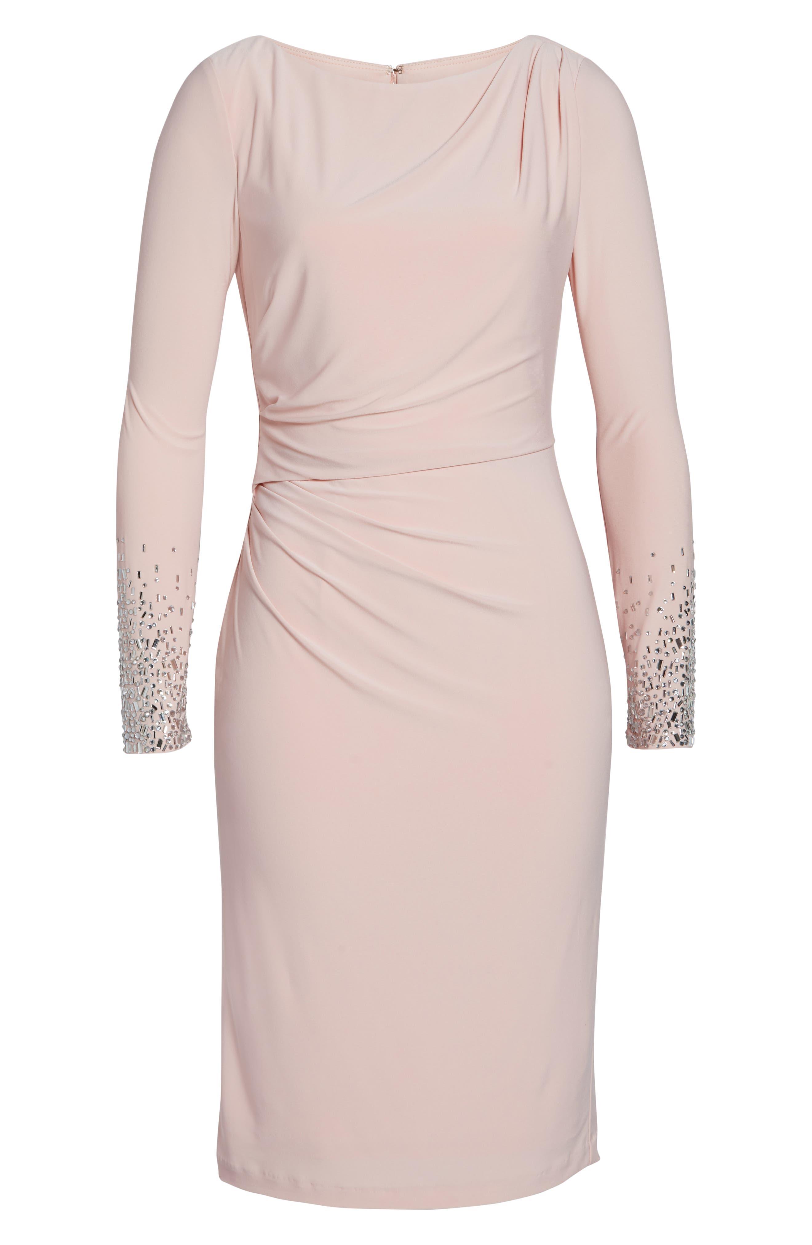 ,                             Long Sleeve Bateau Neck Cocktail Dress,                             Alternate thumbnail 7, color,                             BLUSH