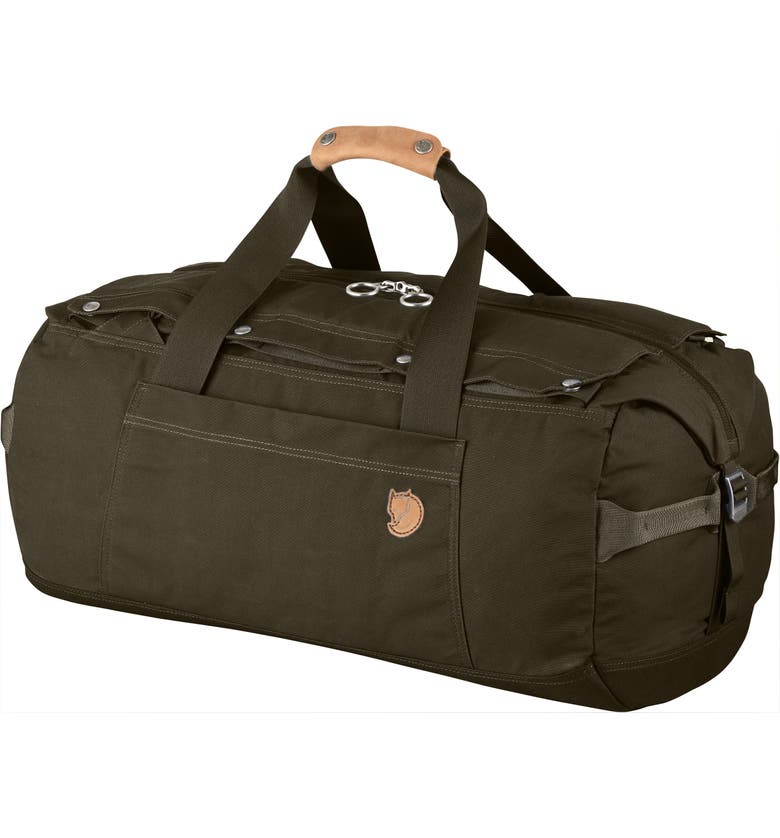 FJÄLLRÄVEN Duffle No. 6 Small Convertible Duffle Bag, Main, color, DARK OLIVE