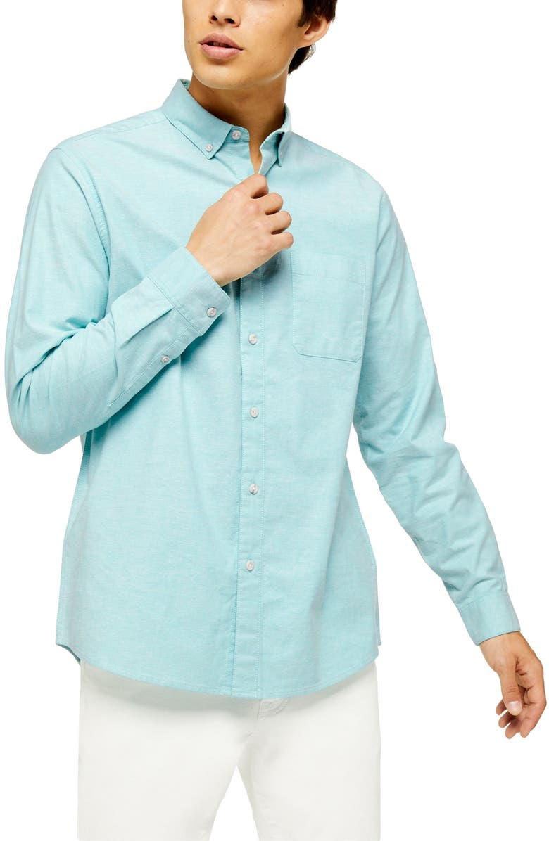 TOPMAN Oxford Skinny Fit Stretch Cotton Button-Down Shirt, Main, color, BLUE