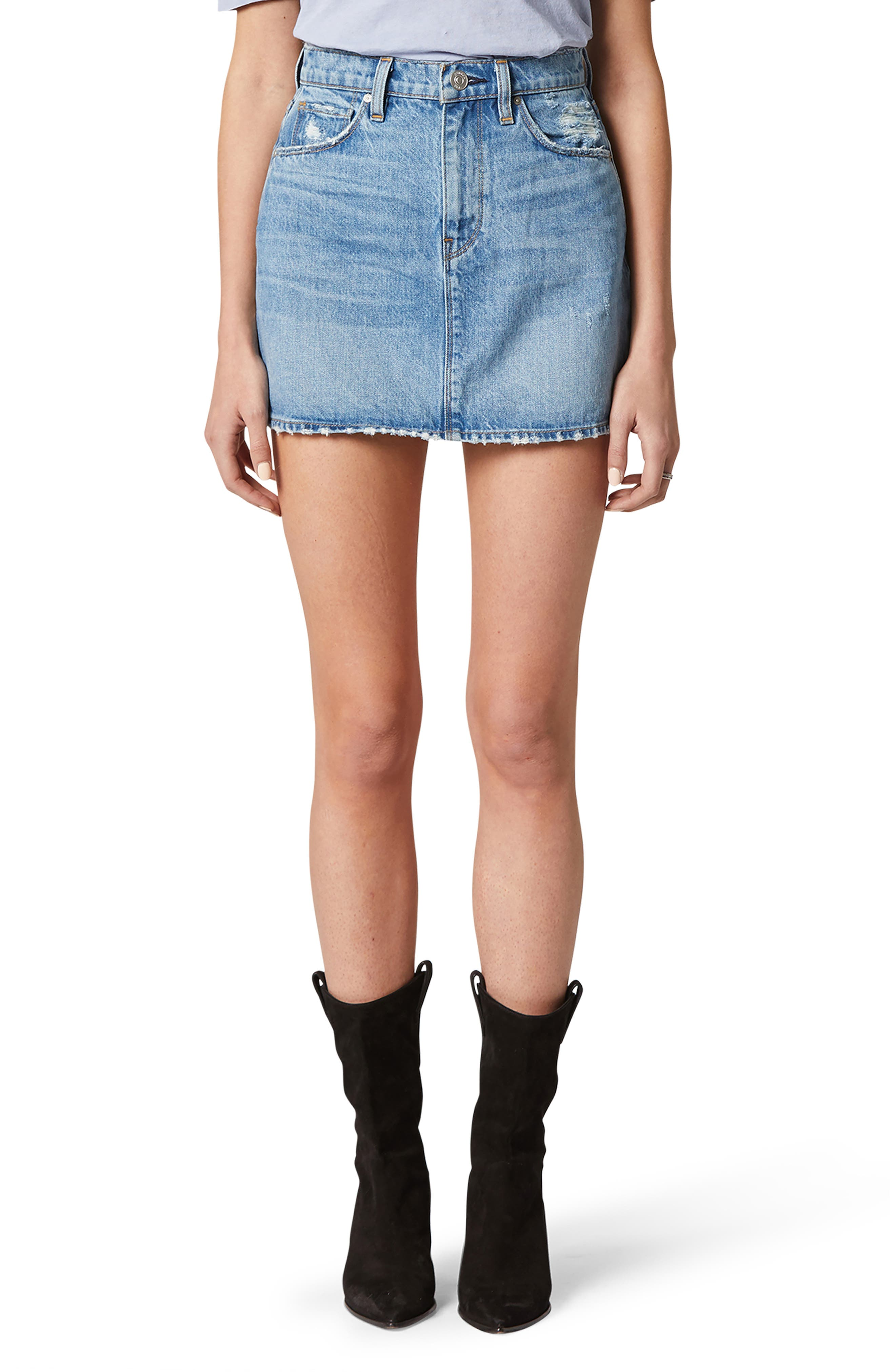 Every closet craves this casual-cool mini styled in a faded, distressed wash with a stem-showing hem. Style Name: Hudson Jeans The Viper Denim Miniskirt. Style Number: 6094491. Available in stores.