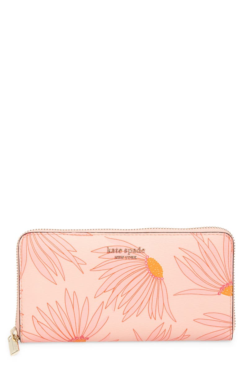 KATE SPADE NEW YORK spencer falling flower zip around leather continental wallet, Main, color, 650