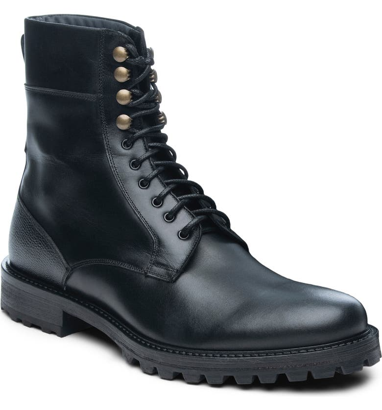 ANKARI FLORUSS ANKARI-FLORUSS Plain Toe Combat Boot, Main, color, BLACK