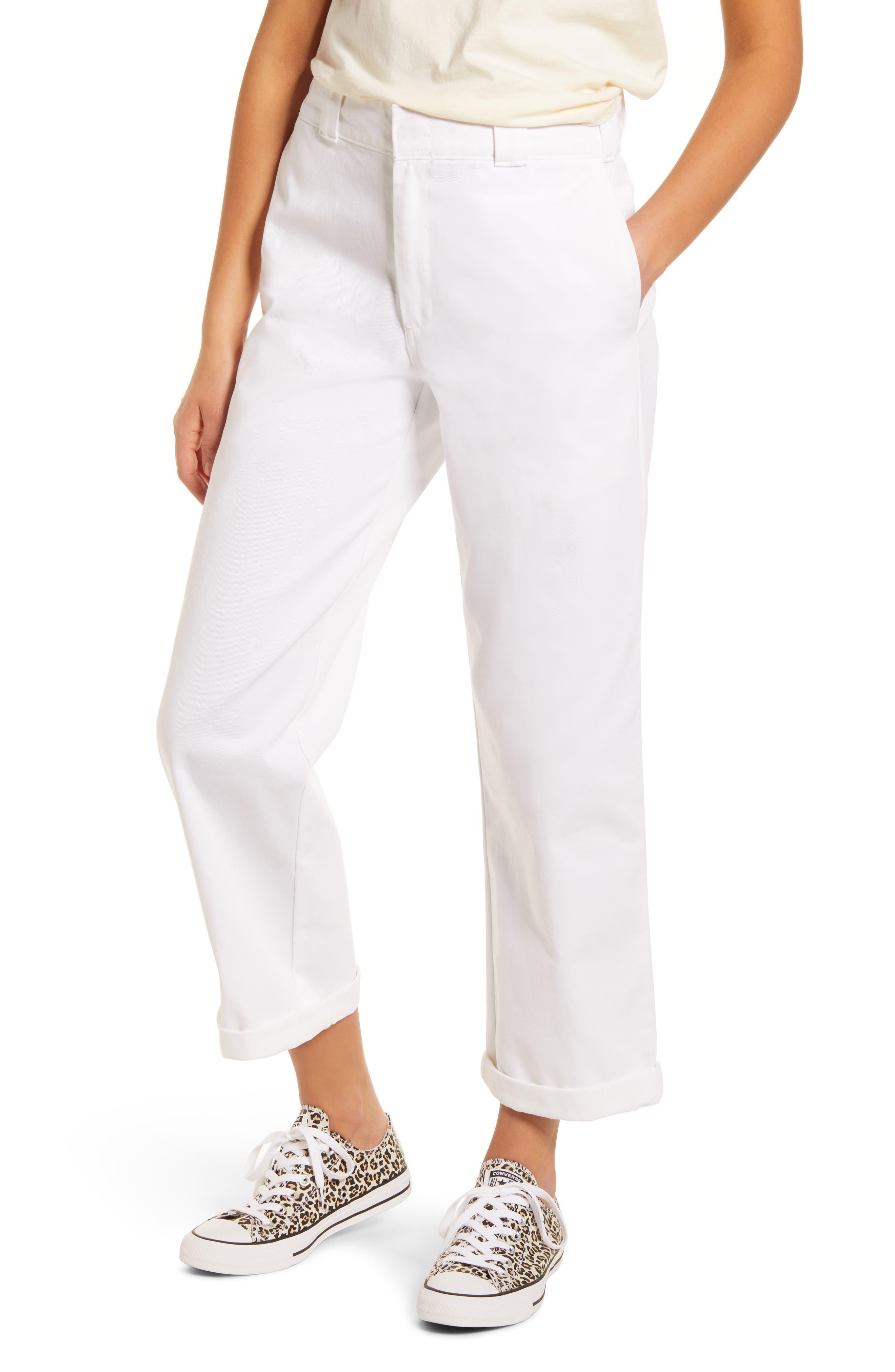 Women's Dickies Crop Work Pants,  15 - White