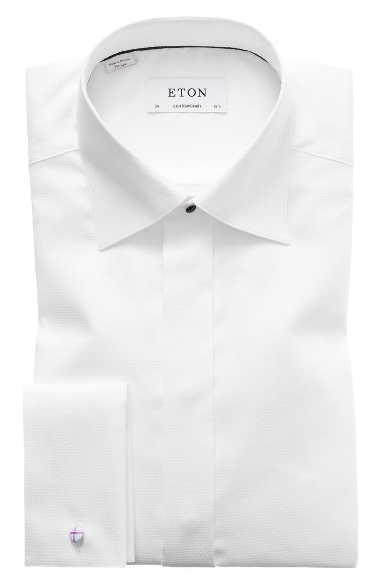 ETON Contemporary Fit Diamond Weave Tuxedo Shirt, Main, color, WHITE