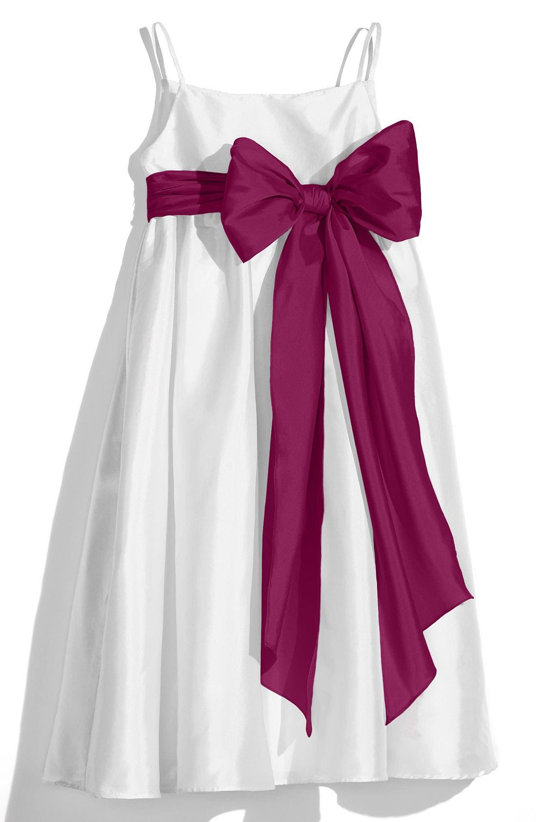 ,                             White Sleeveless Empire Waist Taffeta Dress,                             Main thumbnail 11, color,                             500