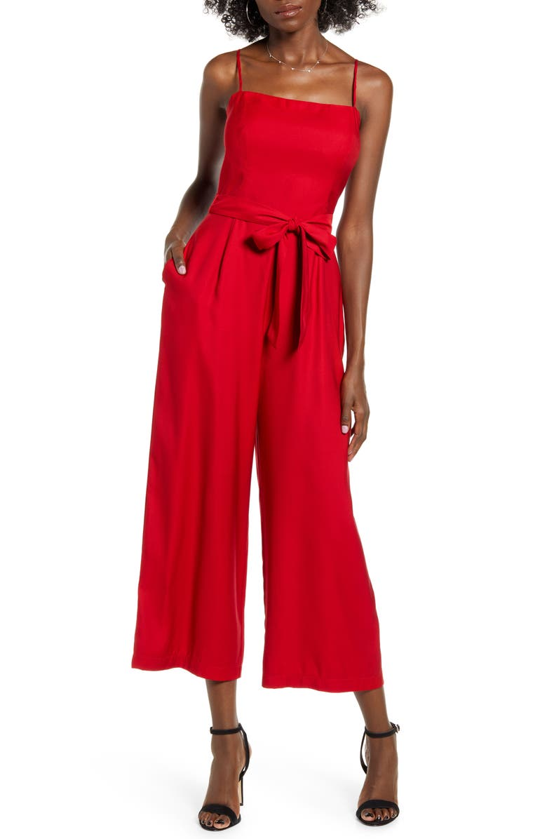 LEITH Open Back Jumpsuit, Main, color, RED CHILI