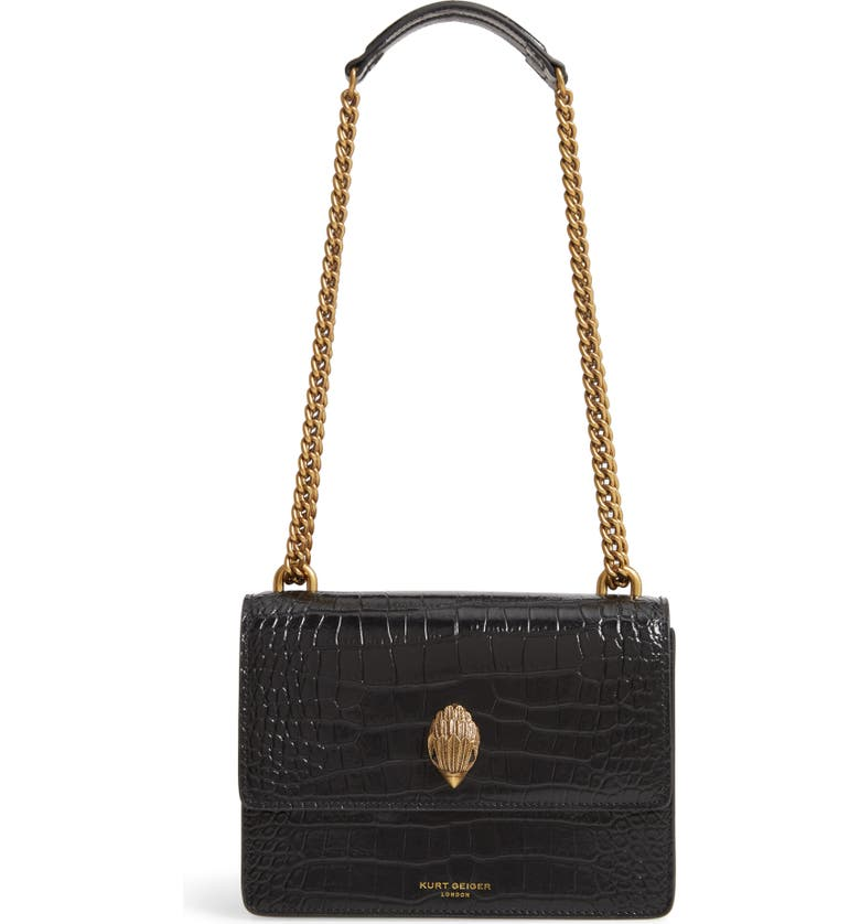 KURT GEIGER LONDON Shoreditch Crocodile Embossed Leather Crossbody Bag, Main, color, BLACK