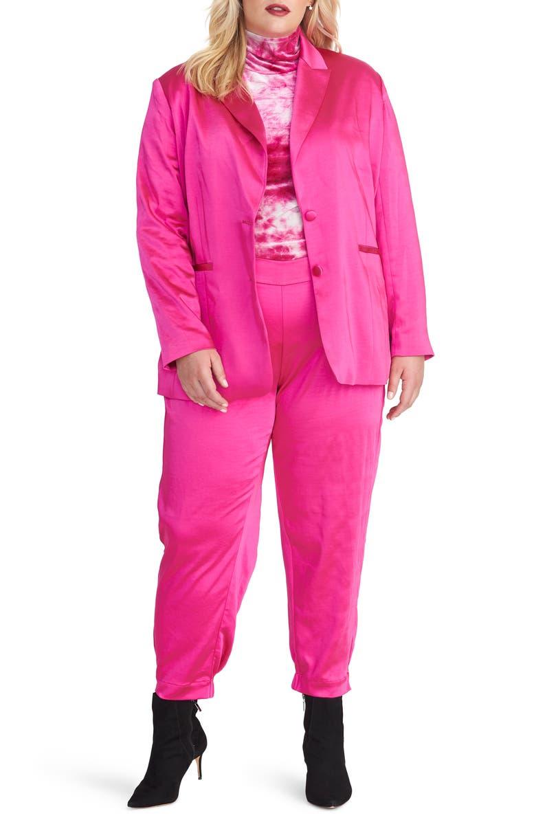 RACHEL RACHEL ROY Everly Satin Blazer, Main, color, ELECTRIC PINK