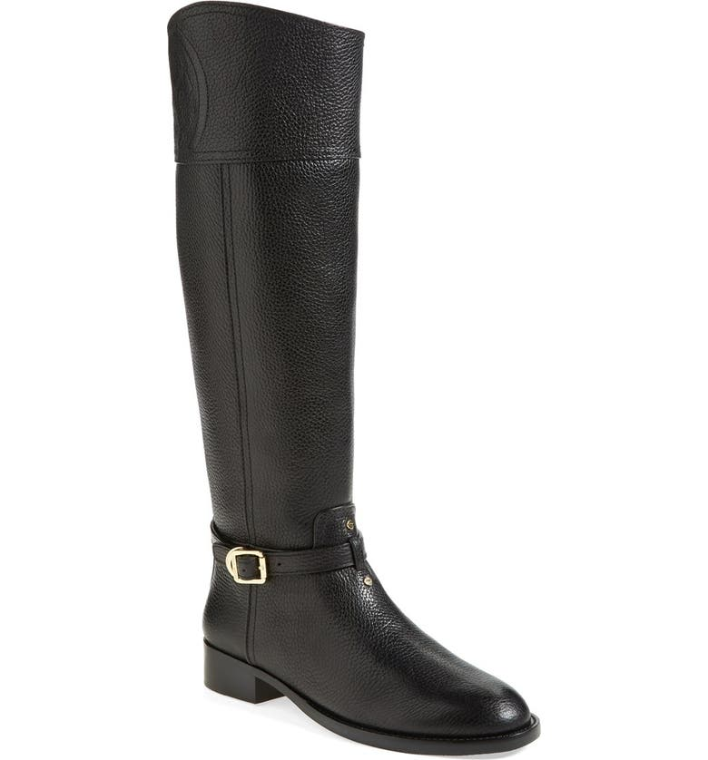 TORY BURCH 'Marlene' Leather Riding Boot, Main, color, 001