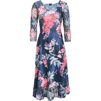 Komarov Charmeuse & Chiffon A-Line Dress, Blue