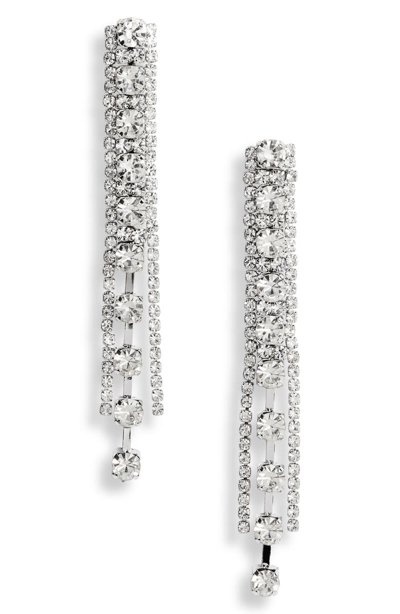 CRISTABELLE Channel Set Crystal Linear Earrings, Main, color, 040