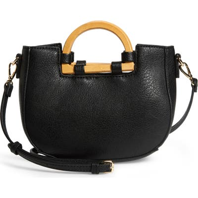 Sole Society Ardel Wooden Top Handle Faux Leather Bag - Black