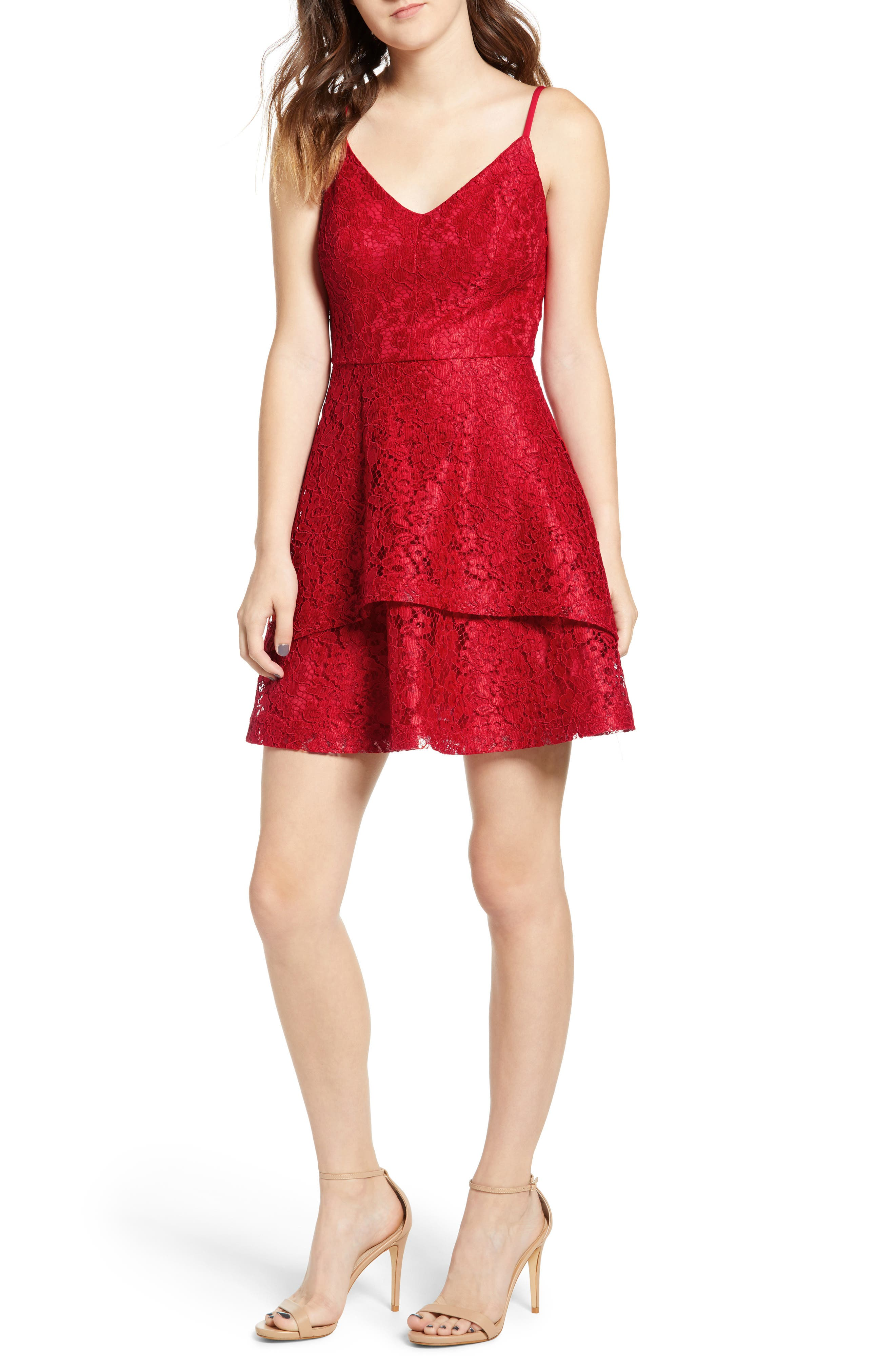Speechless Lace Fit & Flare Dress, Red