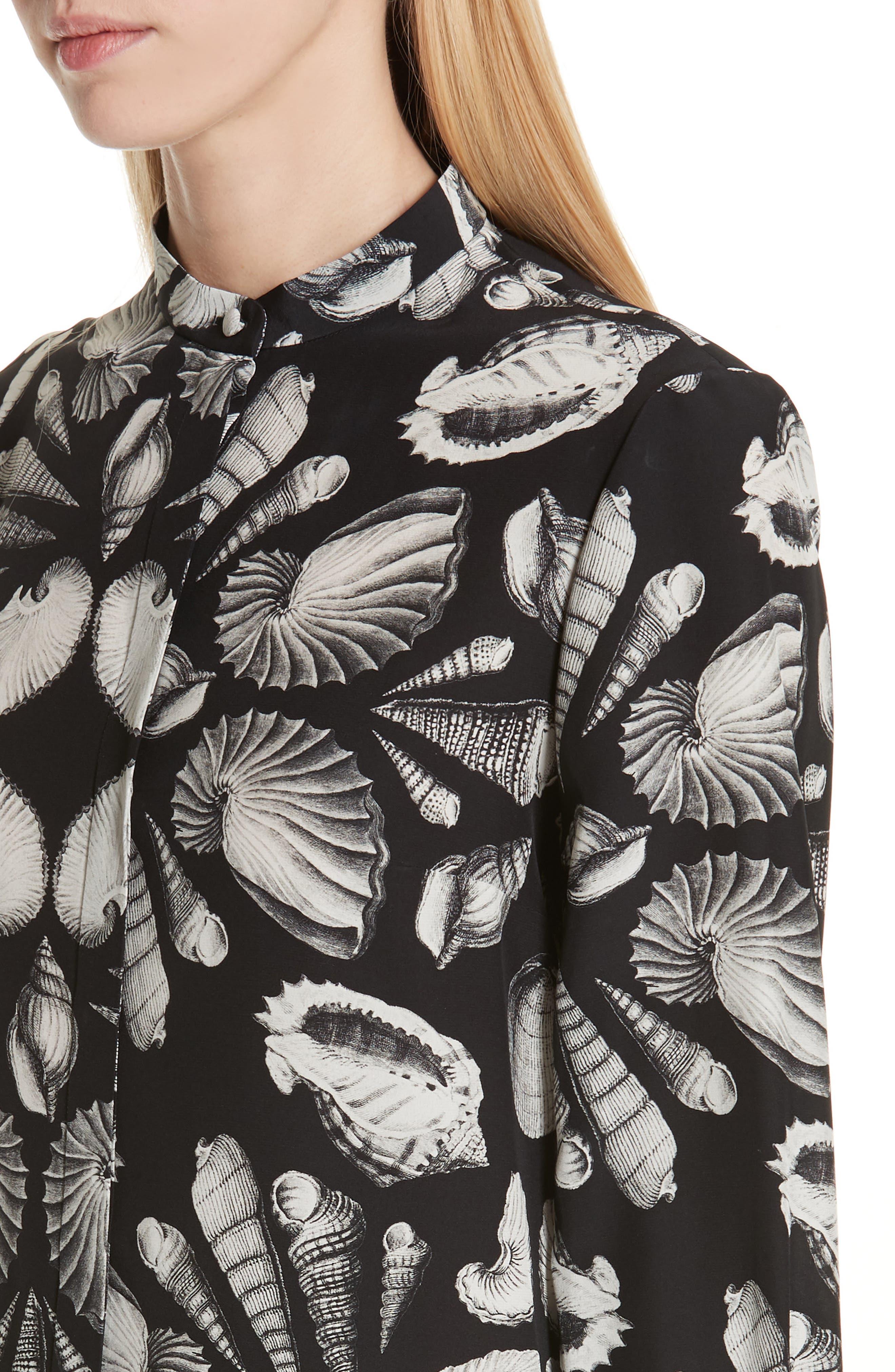 ,                             Cabinet of Shells Print Silk Blouse,                             Alternate thumbnail 5, color,                             1080 - BLACK IVORY