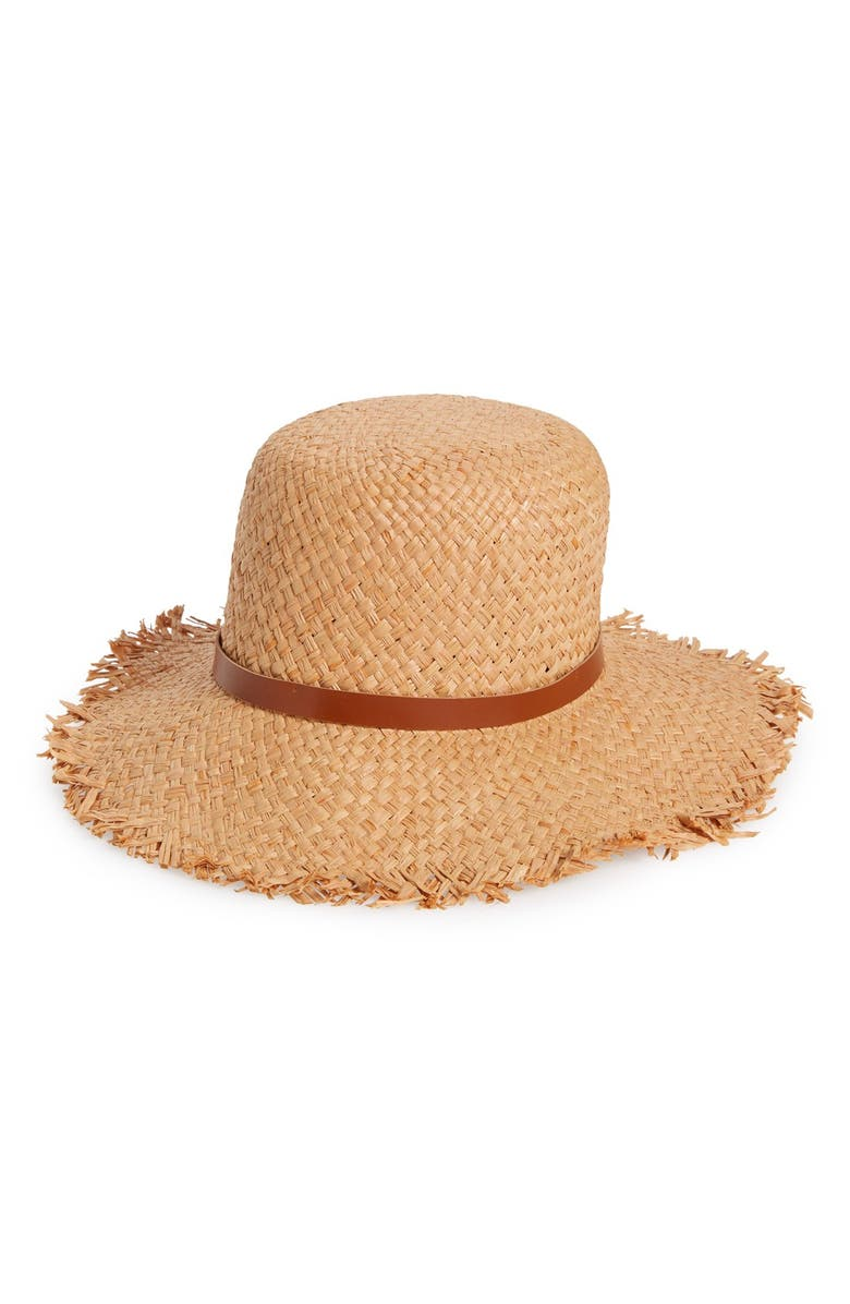 SOLE SOCIETY Fringe Straw Hat, Main, color, 250