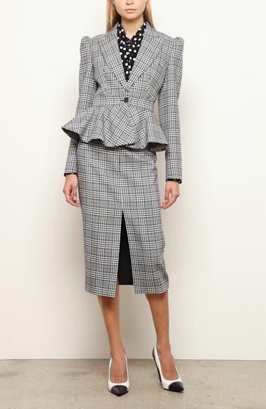 Slit Plaid Wool Pencil Skirt, video thumbnail