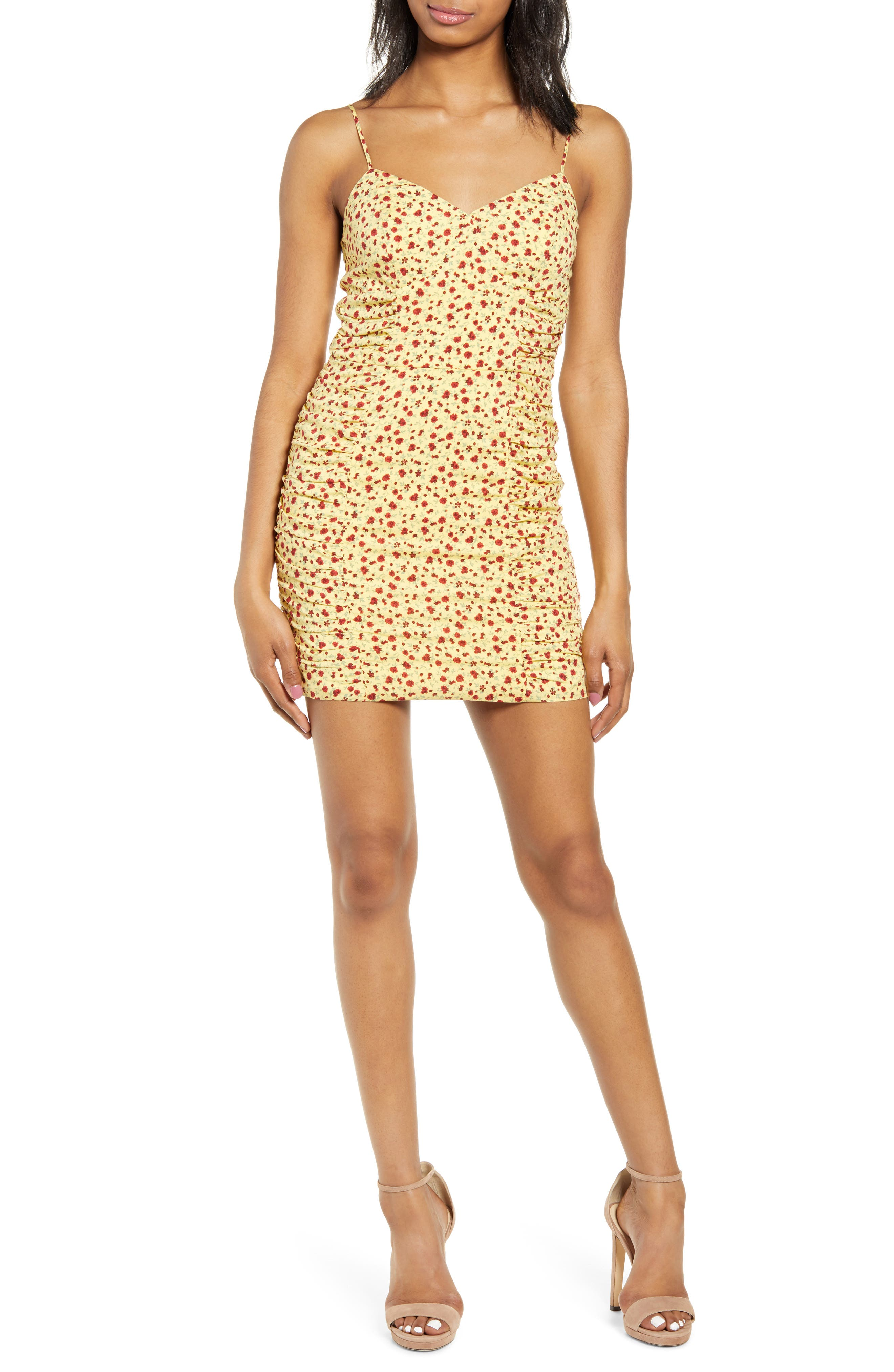 Row A Shirred Side Floral Print Minidress, Yellow