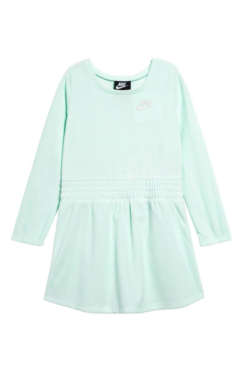 NIKE Sportswear Velour Dress, Main, color, TEAL TINT