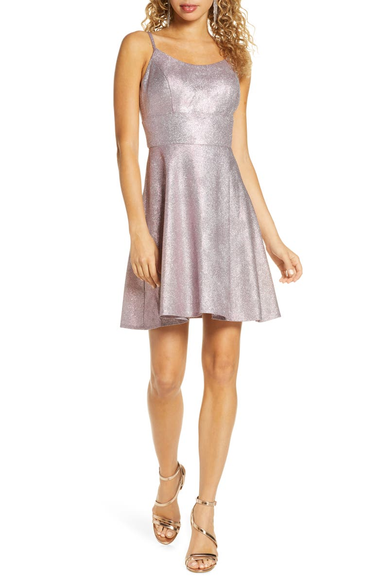 MORGAN & CO. Shimmer Skater Dress, Main, color, PINK